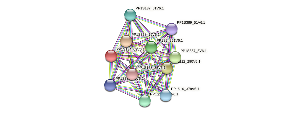 PP1S134_69V6.1 protein (Physcomitrella patens) - STRING interaction network