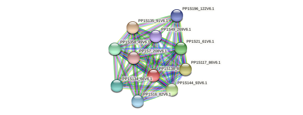 PP1S138_83V6.1 protein (Physcomitrella patens) - STRING interaction network