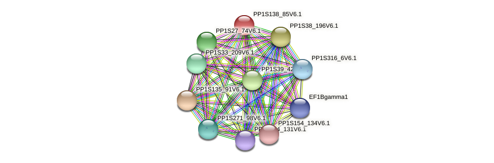 PP1S138_85V6.1 protein (Physcomitrella patens) - STRING interaction network
