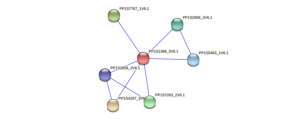 PP1S1398_3V6.1 protein (Physcomitrella patens) - STRING interaction network
