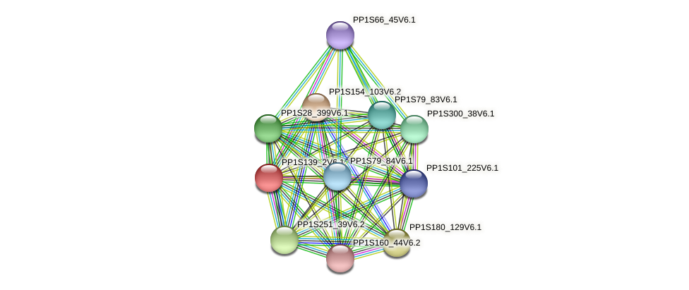 PP1S139_2V6.1 protein (Physcomitrella patens) - STRING interaction network