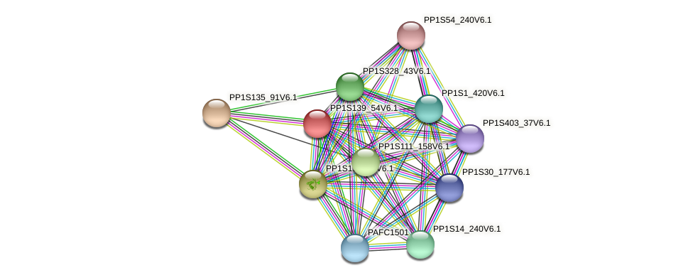 PP1S139_54V6.1 protein (Physcomitrella patens) - STRING interaction network
