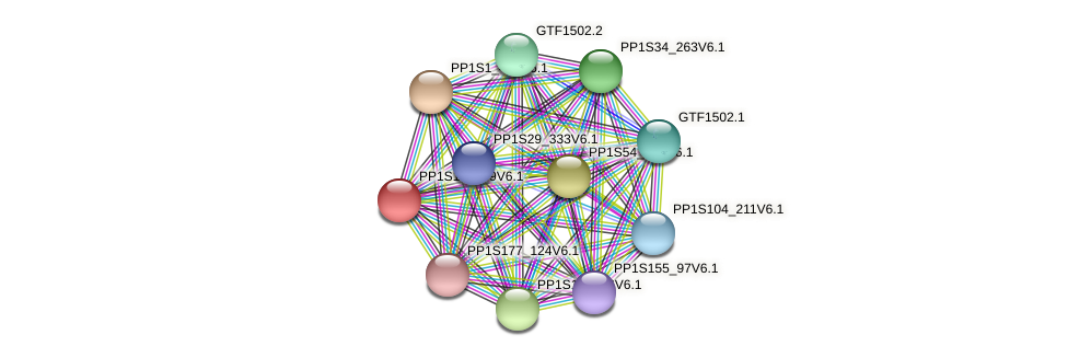 PP1S13_109V6.1 protein (Physcomitrella patens) - STRING interaction network