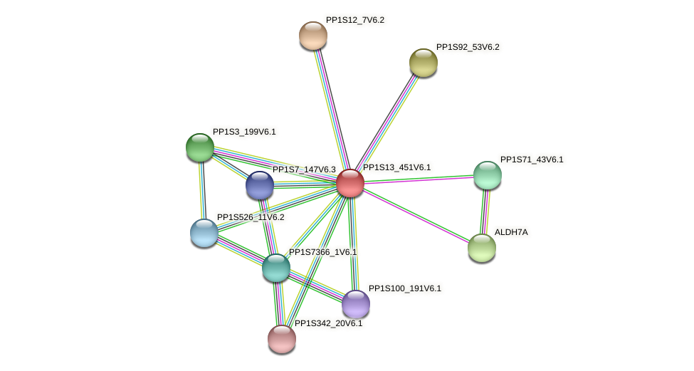 PP1S13_451V6.1 protein (Physcomitrella patens) - STRING interaction network