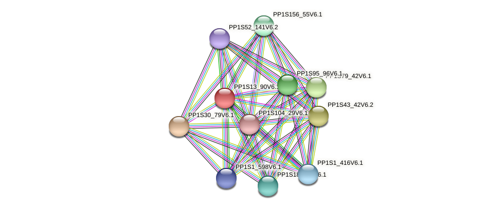 PP1S13_90V6.1 protein (Physcomitrella patens) - STRING interaction network