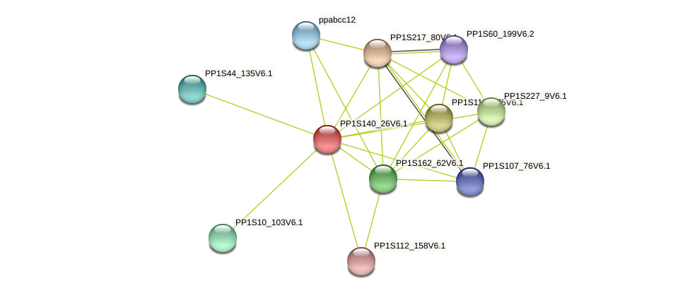 PP1S140_26V6.1 protein (Physcomitrella patens) - STRING interaction network