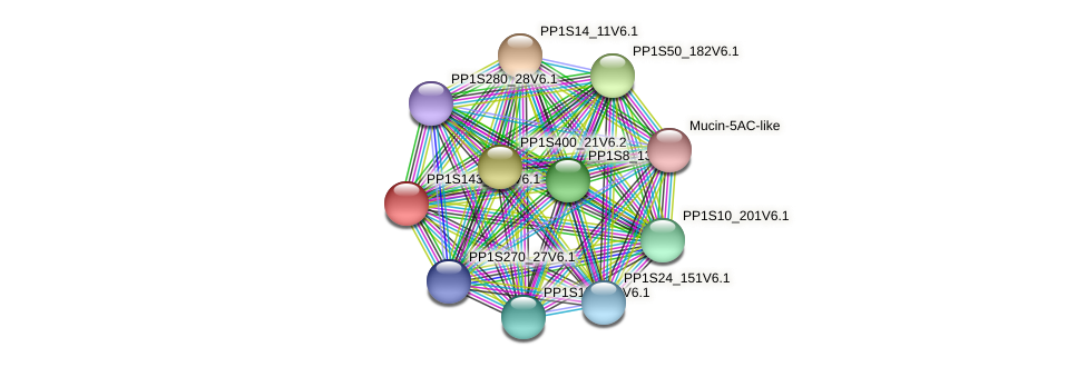 PP1S143_106V6.1 protein (Physcomitrella patens) - STRING interaction network