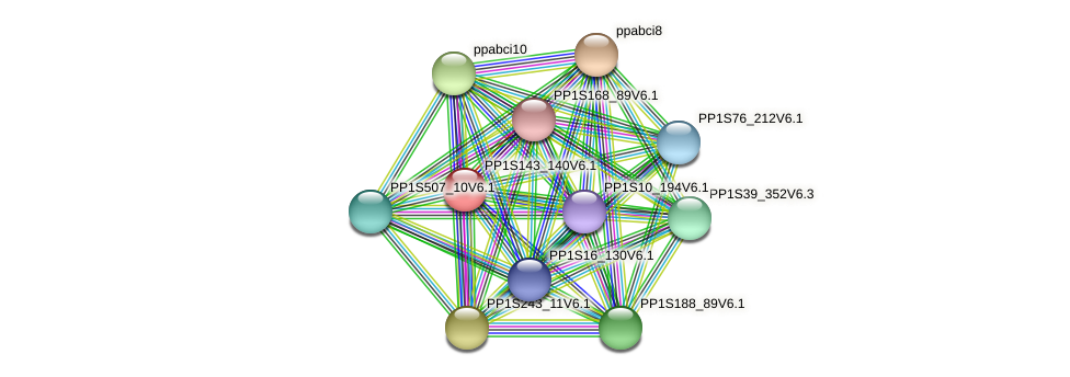PP1S143_140V6.1 protein (Physcomitrella patens) - STRING interaction network