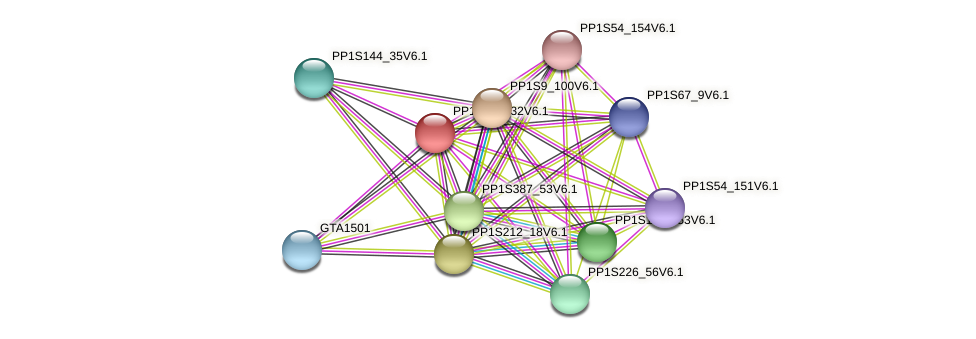 PP1S143_32V6.1 protein (Physcomitrella patens) - STRING interaction network