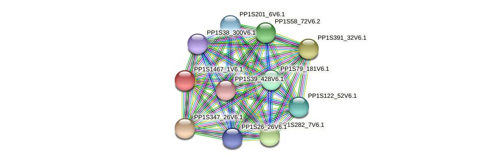 PP1S1467_1V6.1 protein (Physcomitrella patens) - STRING interaction network