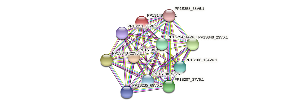 PP1S148_31V6.1 protein (Physcomitrella patens) - STRING interaction network
