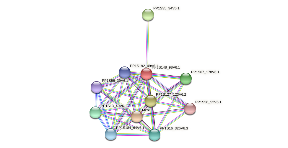 PP1S148_98V6.1 protein (Physcomitrella patens) - STRING interaction network