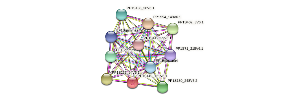 PP1S149_121V6.1 protein (Physcomitrella patens) - STRING interaction network