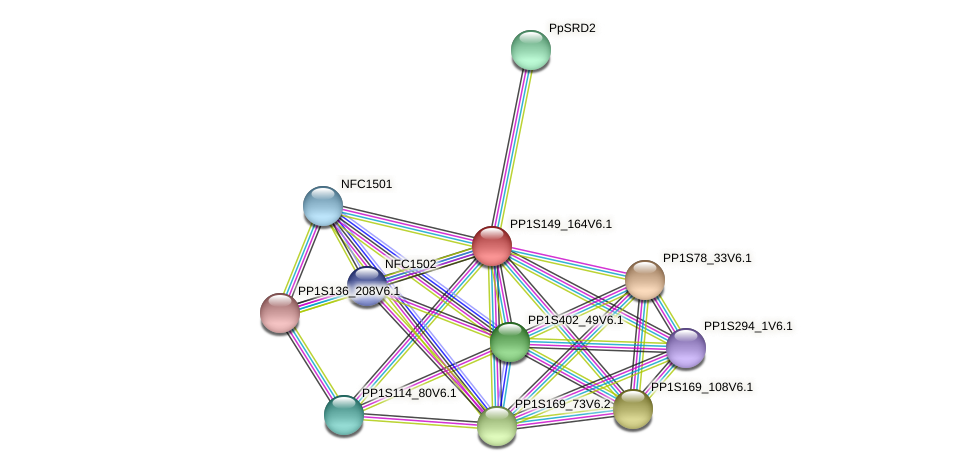 PP1S149_164V6.1 protein (Physcomitrella patens) - STRING interaction network