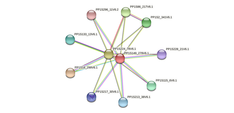 PP1S149_279V6.1 protein (Physcomitrella patens) - STRING interaction network