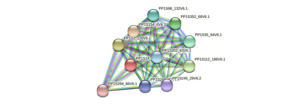 PP1S14_131V6.1 protein (Physcomitrella patens) - STRING interaction network