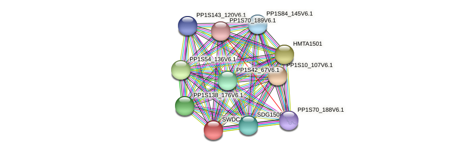 SWDC1501 protein (Physcomitrella patens) - STRING interaction network