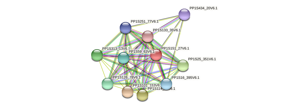 PP1S151_27V6.1 protein (Physcomitrella patens) - STRING interaction network