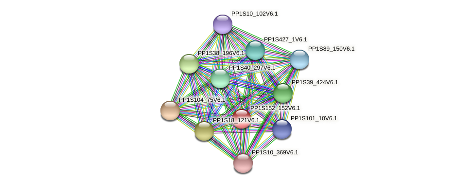 PP1S152_152V6.1 protein (Physcomitrella patens) - STRING interaction network