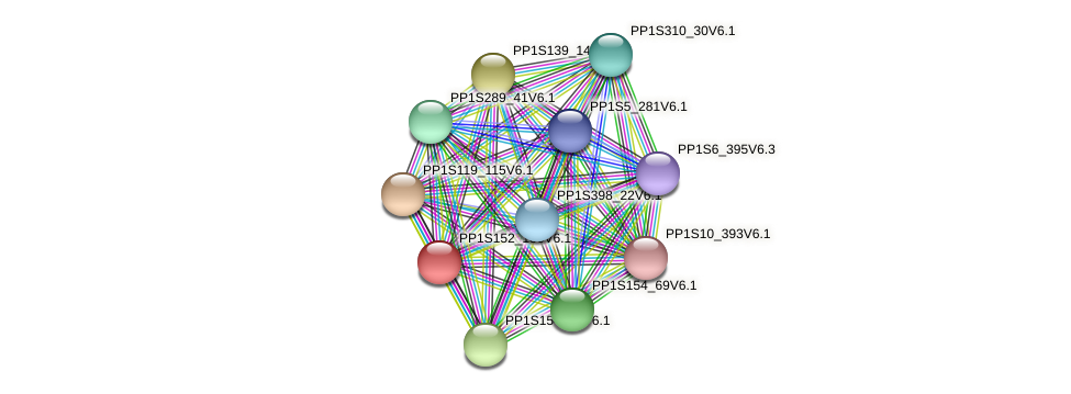 PP1S152_156V6.1 protein (Physcomitrella patens) - STRING interaction network