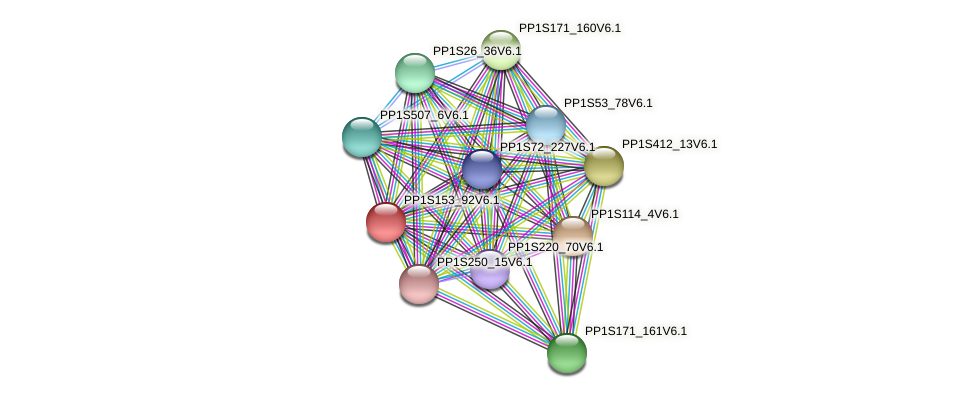 PP1S153_92V6.1 protein (Physcomitrella patens) - STRING interaction network