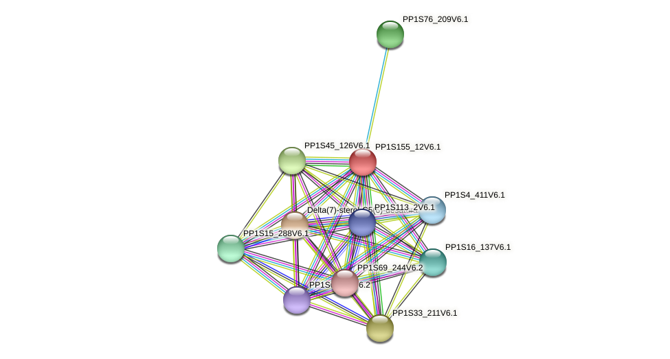 PP1S155_12V6.1 protein (Physcomitrella patens) - STRING interaction network