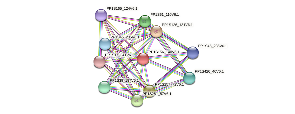 PP1S156_140V6.1 protein (Physcomitrella patens) - STRING interaction network