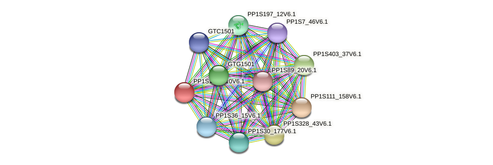 PP1S159_110V6.1 protein (Physcomitrella patens) - STRING interaction network