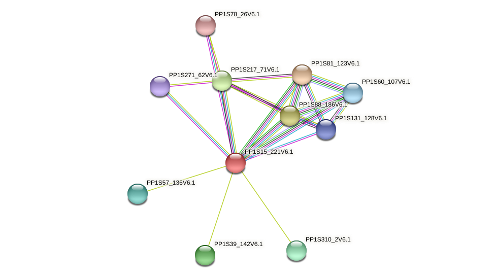 PP1S15_221V6.1 protein (Physcomitrella patens) - STRING interaction network