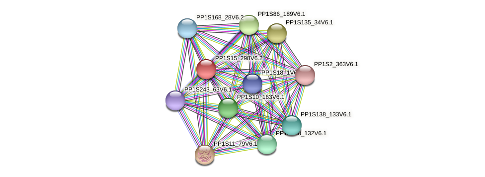 PP1S15_298V6.2 protein (Physcomitrella patens) - STRING interaction network