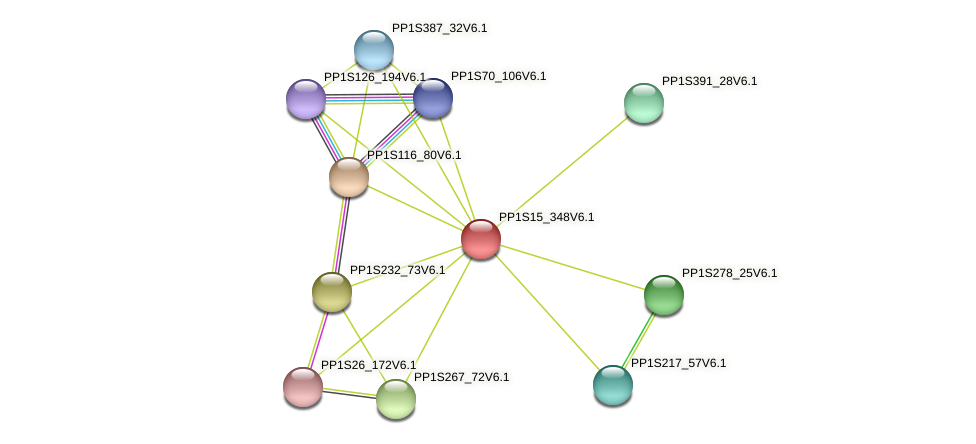 PP1S15_348V6.1 protein (Physcomitrella patens) - STRING interaction network