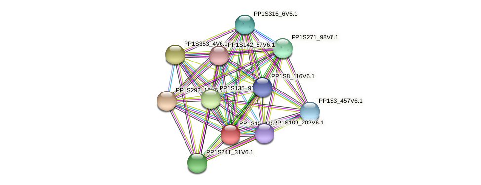 PP1S15_445V6.1 protein (Physcomitrella patens) - STRING interaction network