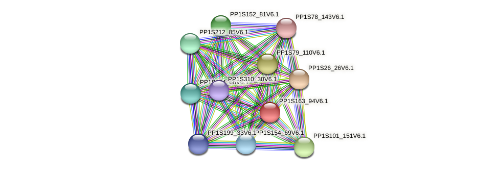 PP1S163_94V6.1 protein (Physcomitrella patens) - STRING interaction network