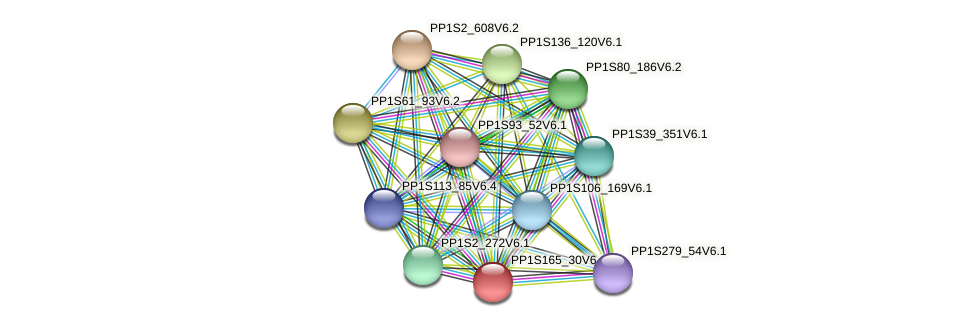 PP1S165_30V6.1 protein (Physcomitrella patens) - STRING interaction network