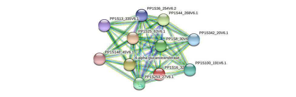 PP1S16_320V6.1 protein (Physcomitrella patens) - STRING interaction network