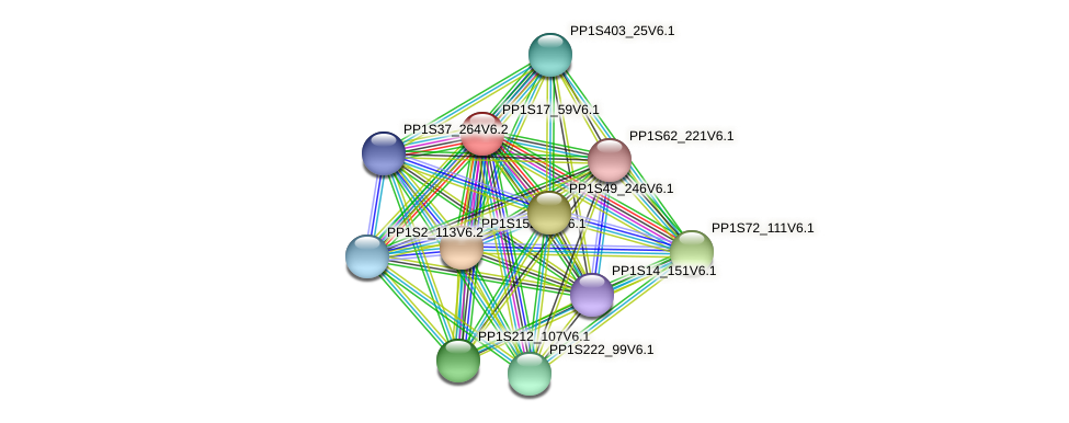 PP1S17_59V6.1 protein (Physcomitrella patens) - STRING interaction network