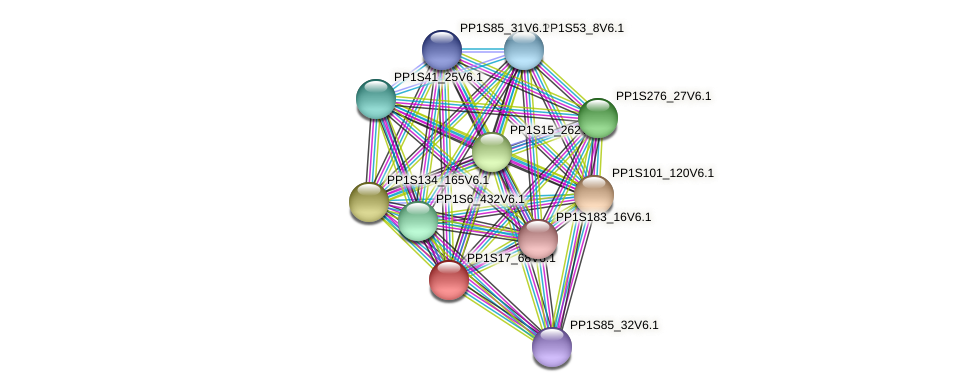 PP1S17_68V6.1 protein (Physcomitrella patens) - STRING interaction network