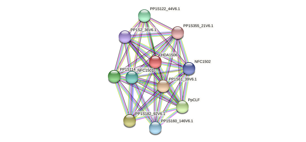 HDA1506 protein (Physcomitrella patens) - STRING interaction network