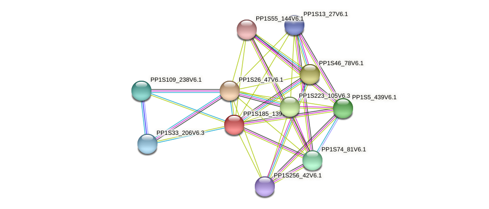 PP1S185_139V6.1 protein (Physcomitrella patens) - STRING interaction network