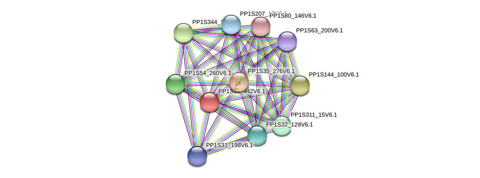 PP1S18_342V6.1 protein (Physcomitrella patens) - STRING interaction network