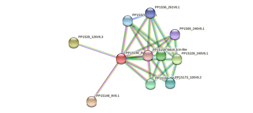 PP1S190_8V6.1 protein (Physcomitrella patens) - STRING interaction network