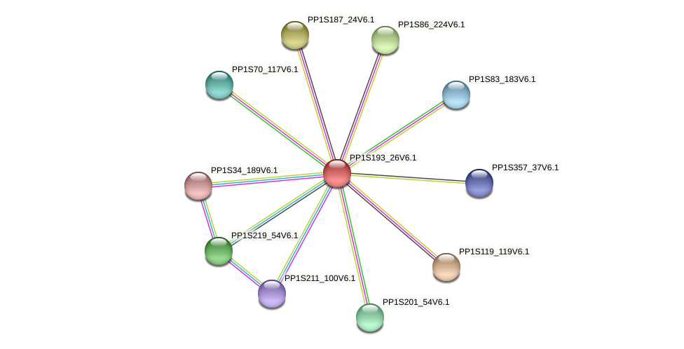 PP1S193_26V6.1 protein (Physcomitrella patens) - STRING interaction network
