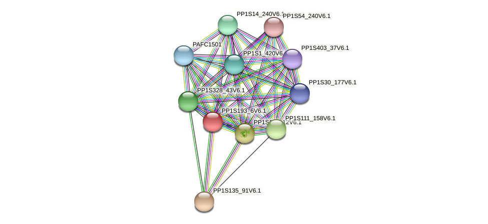 PP1S193_6V6.1 protein (Physcomitrella patens) - STRING interaction network