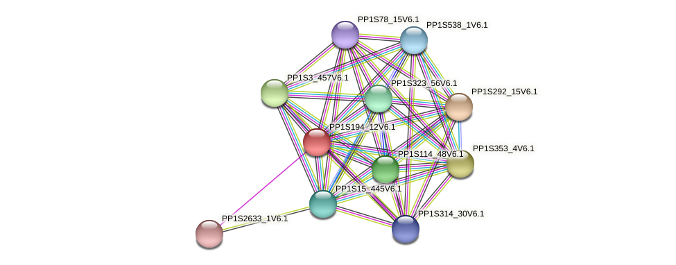 PP1S194_12V6.1 protein (Physcomitrella patens) - STRING interaction network