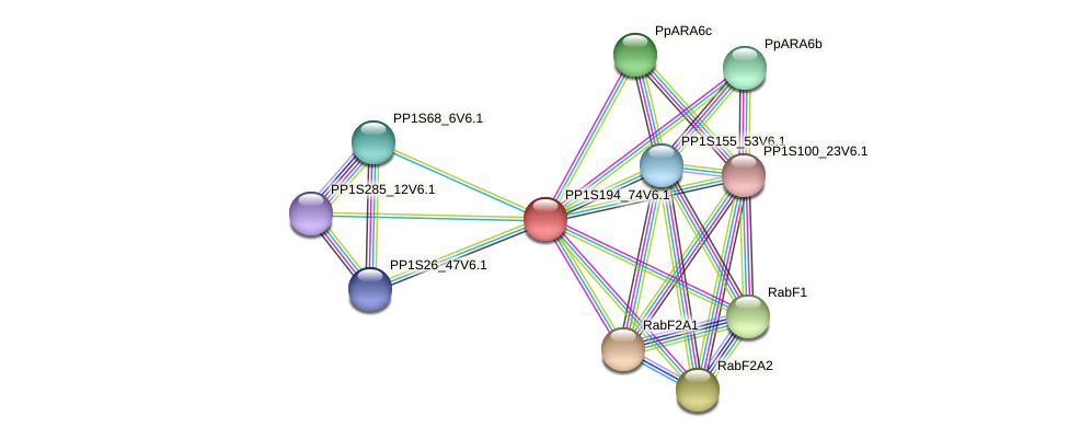 PP1S194_74V6.1 protein (Physcomitrella patens) - STRING interaction network