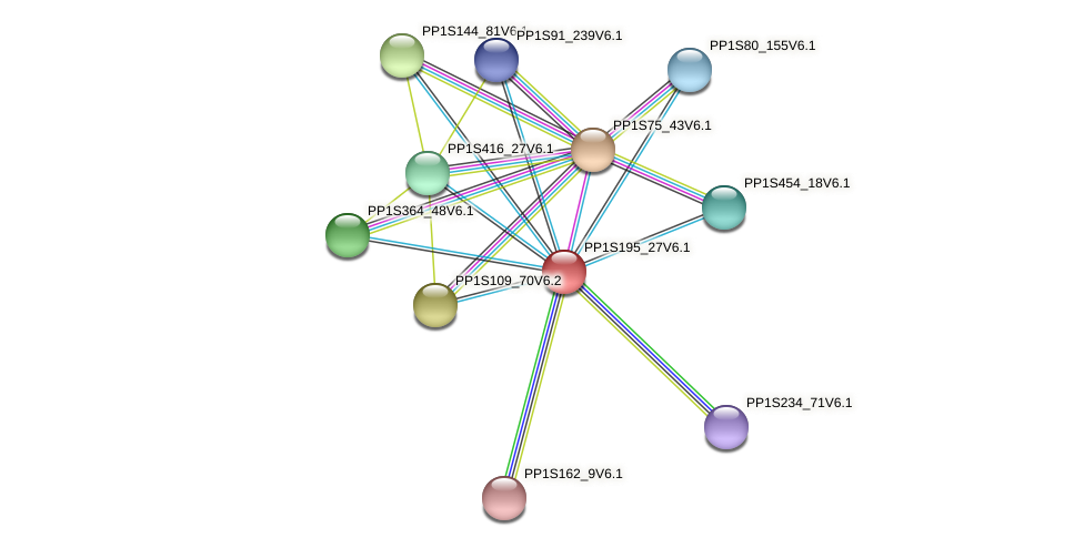 PP1S195_27V6.1 protein (Physcomitrella patens) - STRING interaction network