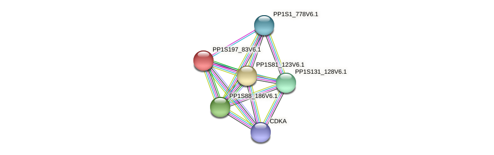PP1S197_83V6.1 protein (Physcomitrella patens) - STRING interaction network
