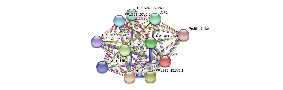 PP1S198_154V6.1 protein (Physcomitrella patens) - STRING interaction network