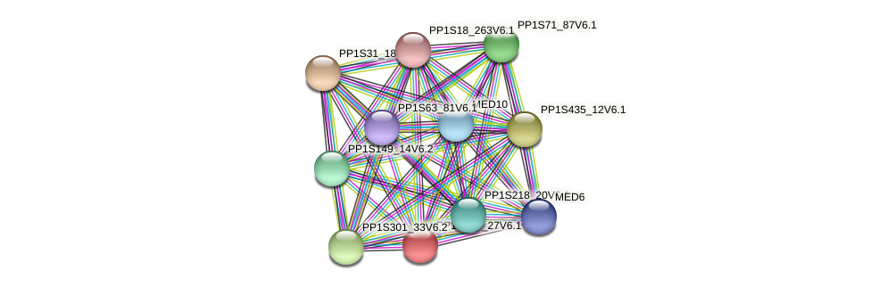 PP1S199_27V6.1 protein (Physcomitrella patens) - STRING interaction network