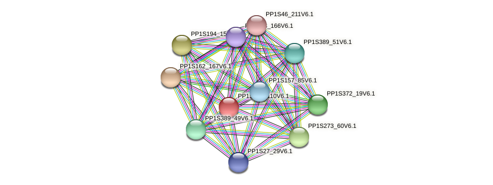 PP1S201_110V6.1 protein (Physcomitrella patens) - STRING interaction network
